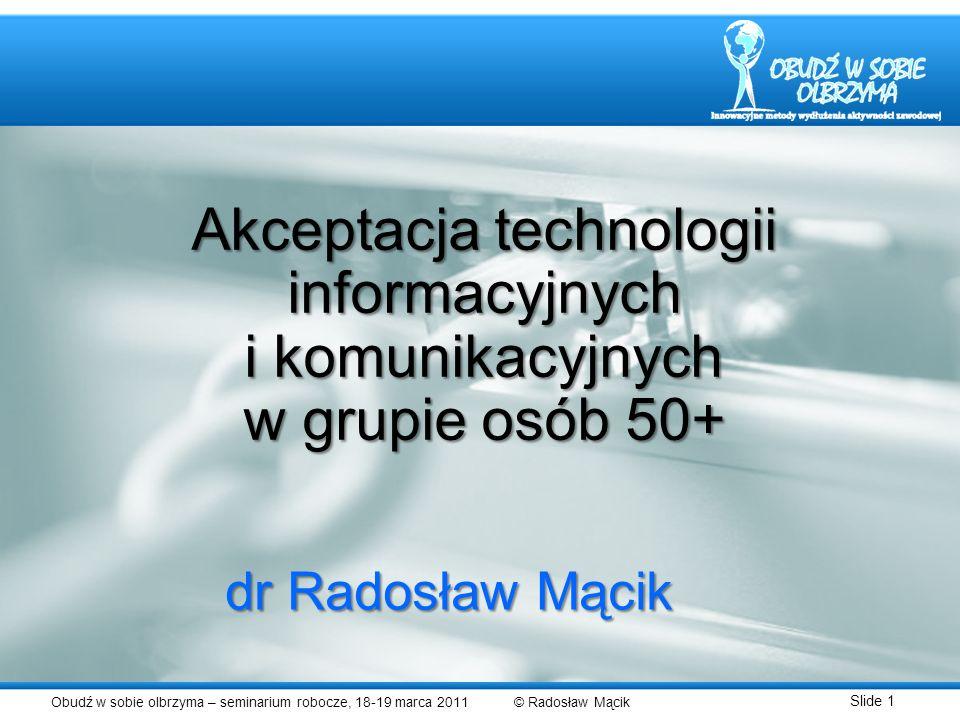 Akceptacja technologii informacyjnych i komunikacyjnych w grupie osób 50+
