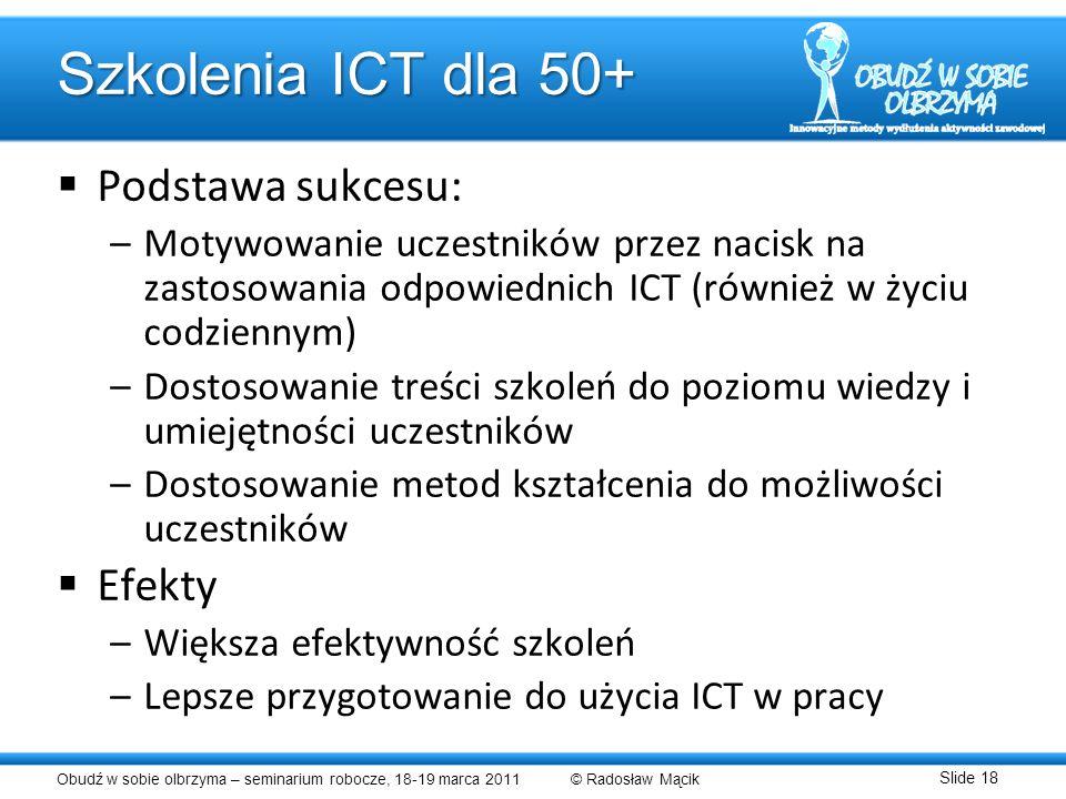 Szkolenia ICT dla 50+ Podstawa sukcesu: Efekty