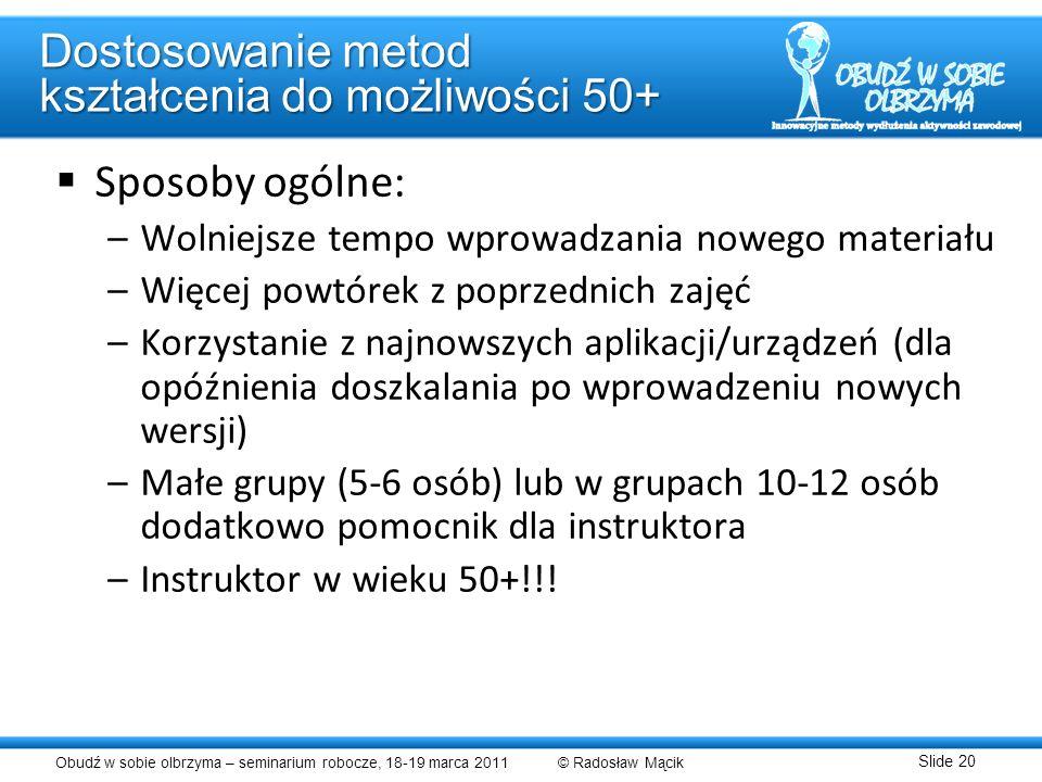 Dostosowanie metod kształcenia do możliwości 50+