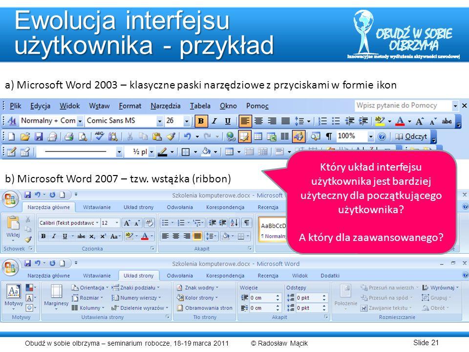 Ewolucja interfejsu użytkownika - przykład