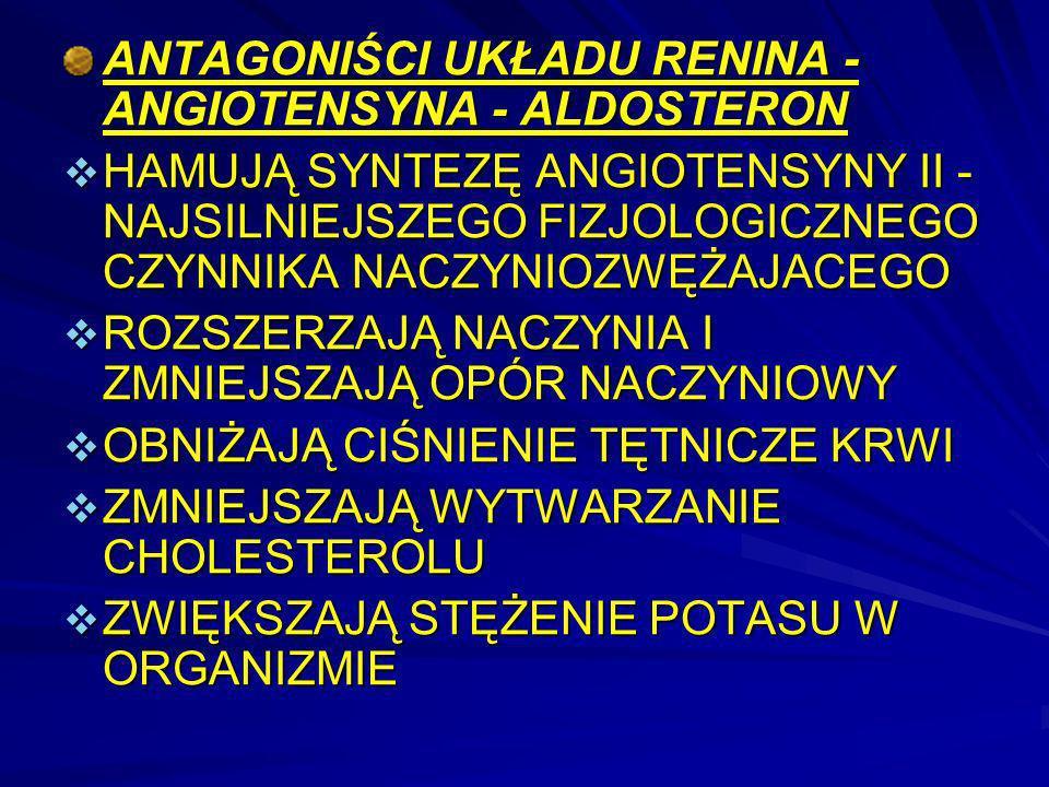 ANTAGONIŚCI UKŁADU RENINA - ANGIOTENSYNA - ALDOSTERON