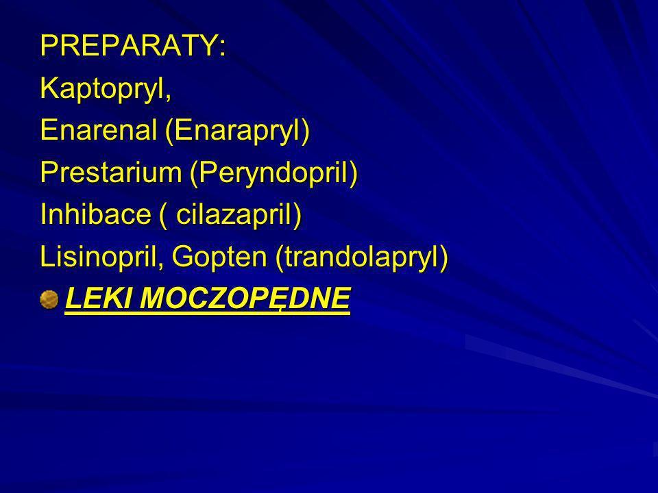 PREPARATY: Kaptopryl, Enarenal (Enarapryl) Prestarium (Peryndopril) Inhibace ( cilazapril) Lisinopril, Gopten (trandolapryl)