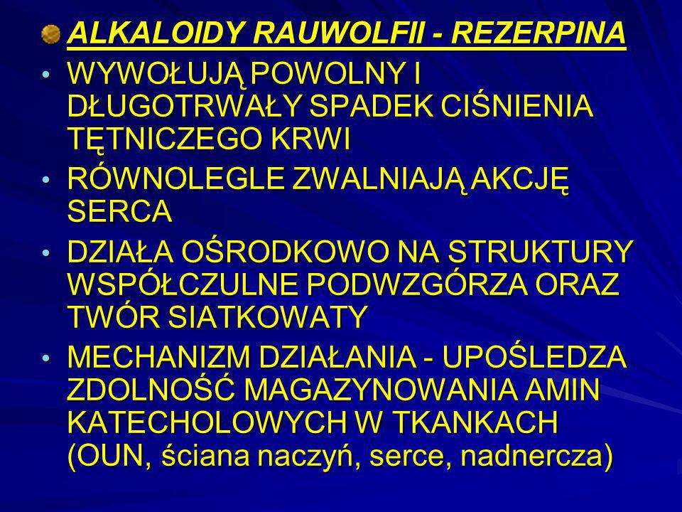 ALKALOIDY RAUWOLFII - REZERPINA