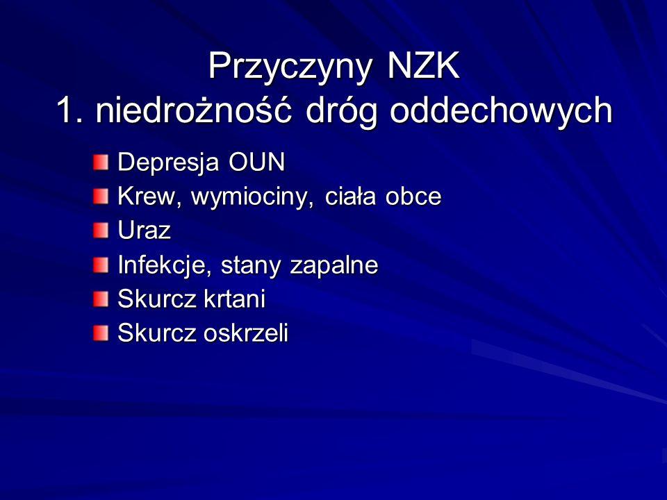 Przyczyny NZK 1. niedrożność dróg oddechowych