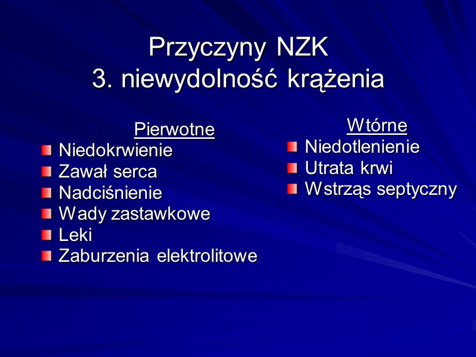 Przyczyny NZK 3. niewydolność krążenia
