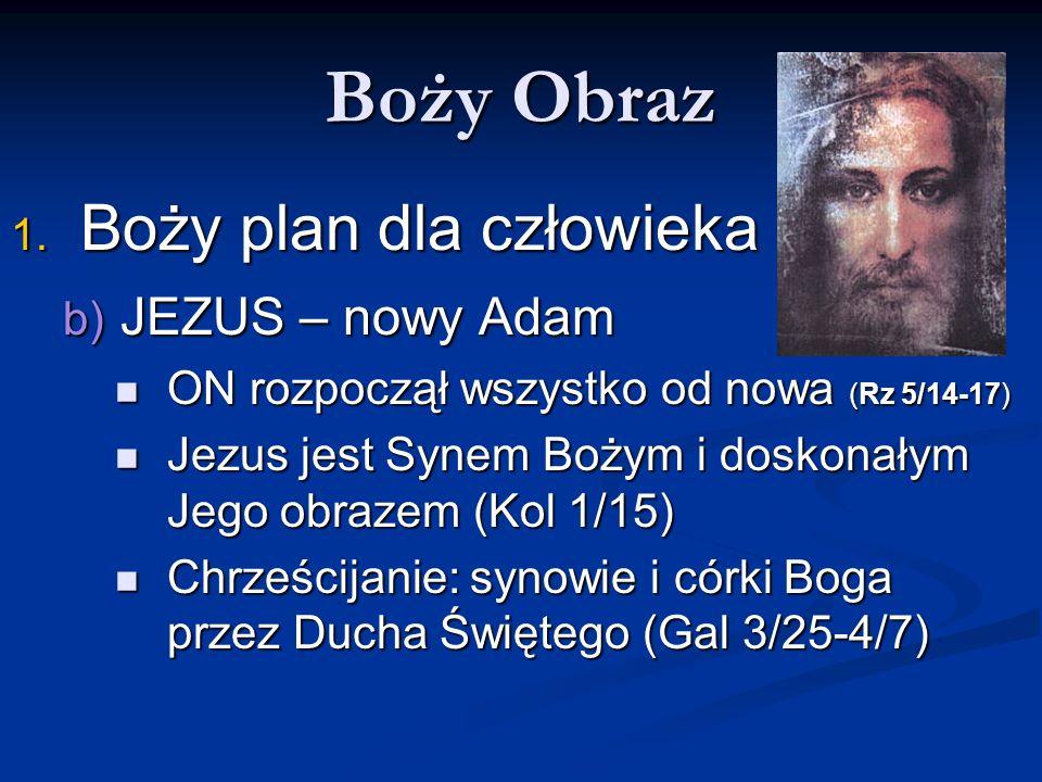 Boży Obraz Boży plan dla człowieka b) JEZUS – nowy Adam