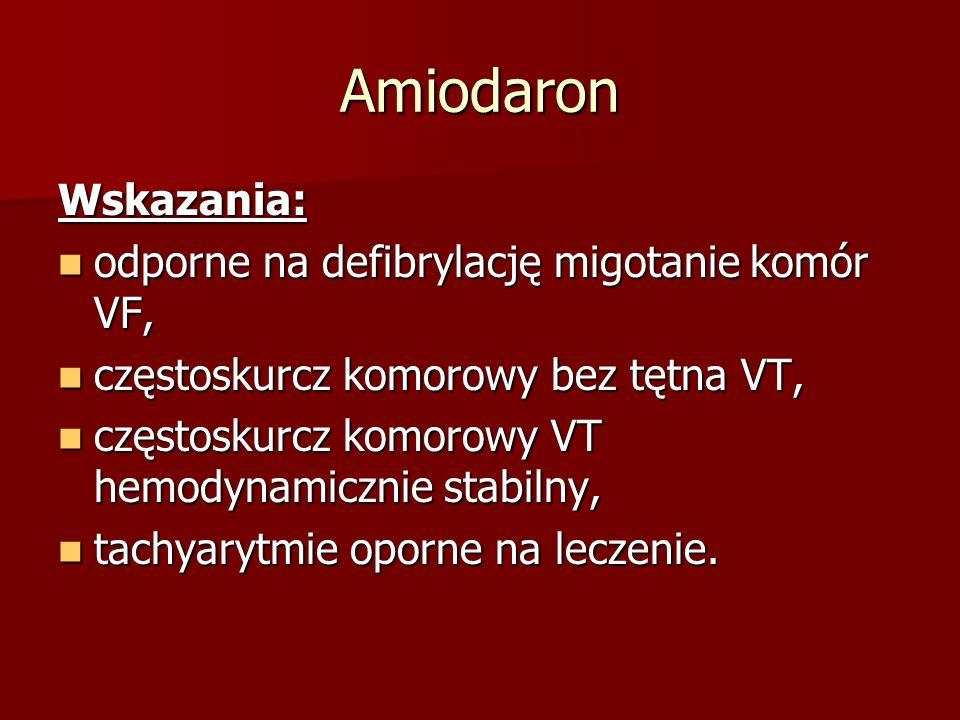 Amiodaron Wskazania: odporne na defibrylację migotanie komór VF,