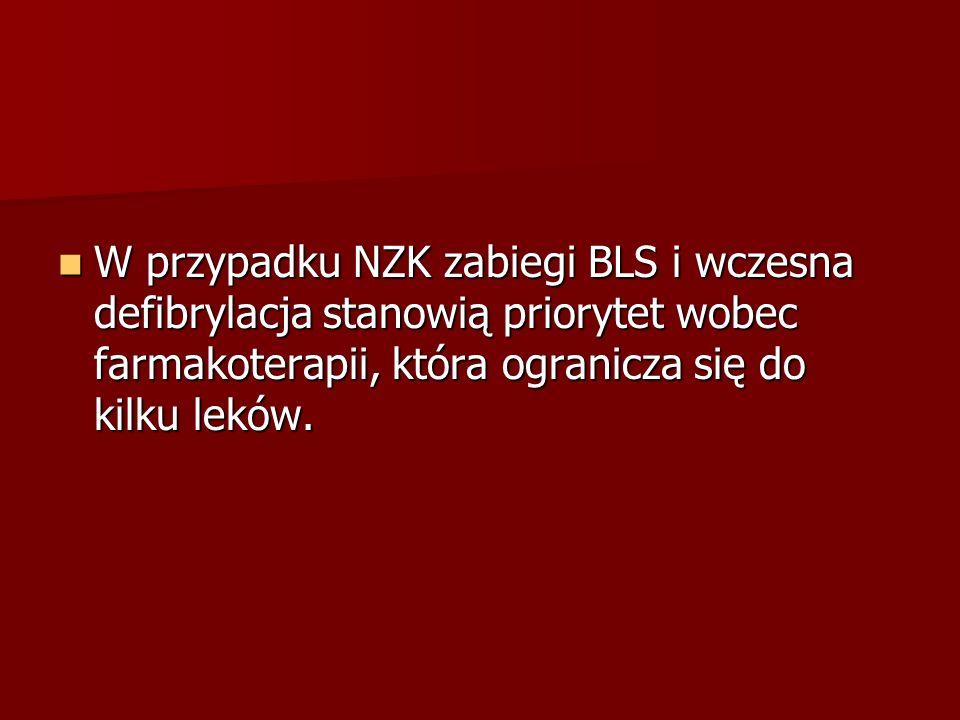 W przypadku NZK zabiegi BLS i wczesna defibrylacja stanowią priorytet wobec farmakoterapii, która ogranicza się do kilku leków.
