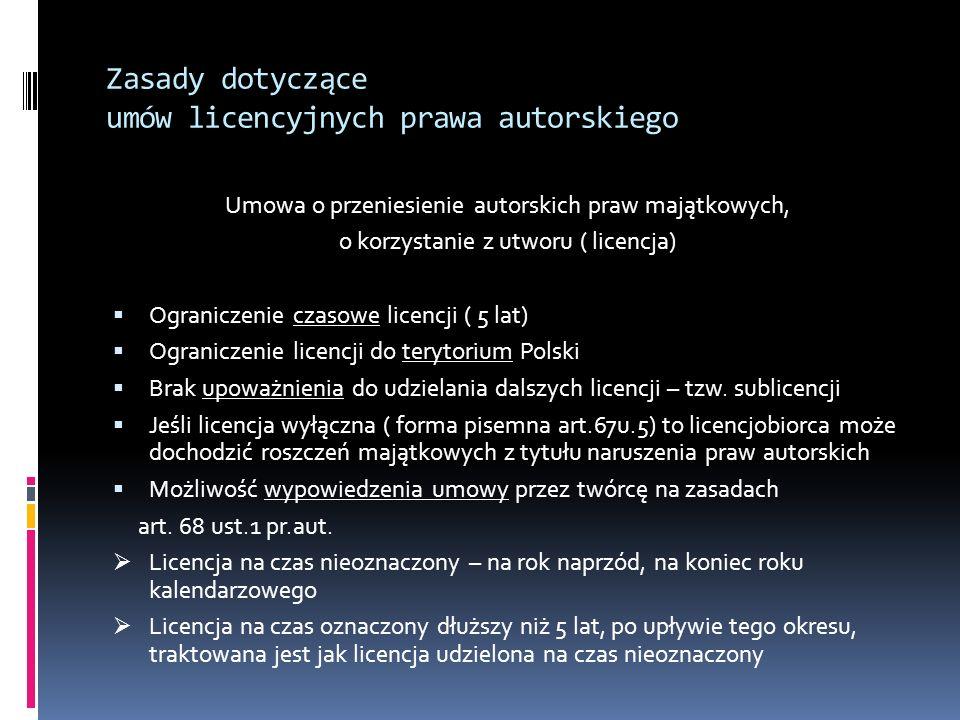 Zasady dotyczące umów licencyjnych prawa autorskiego