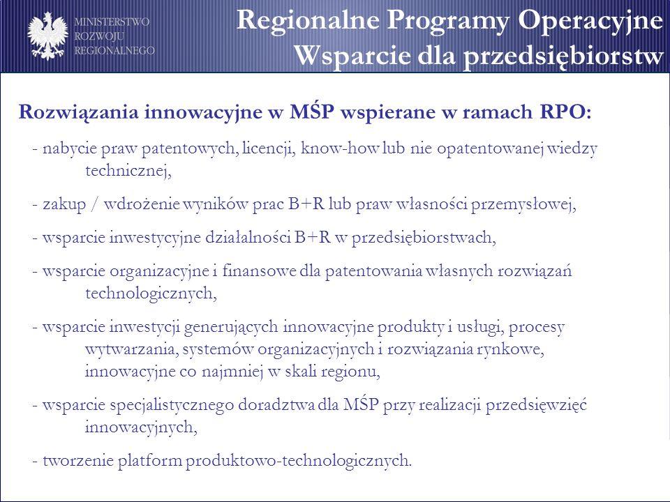 Regionalne Programy Operacyjne Wsparcie dla przedsiębiorstw