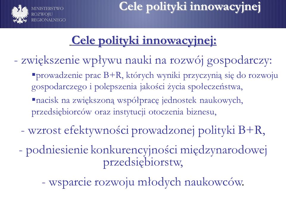 Cele polityki innowacyjnej