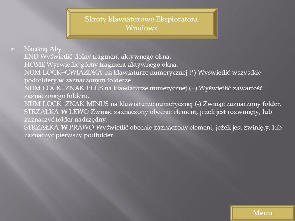 Skróty klawiaturowe Eksploratora Windows