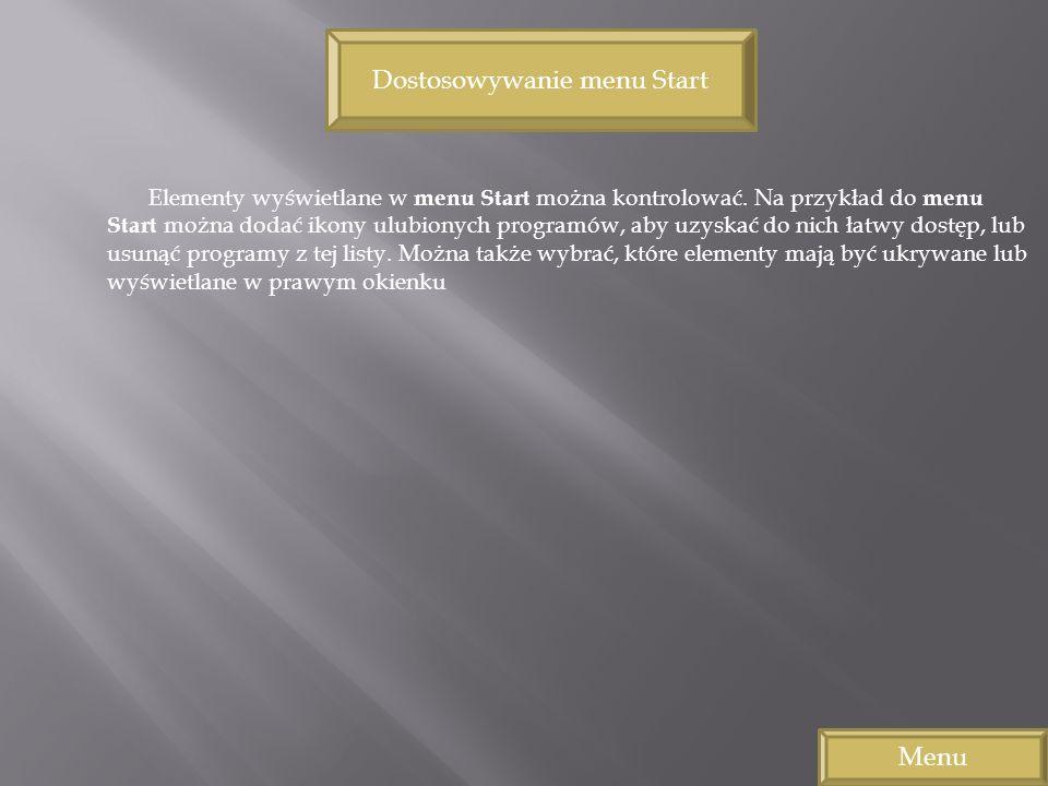 Dostosowywanie menu Start