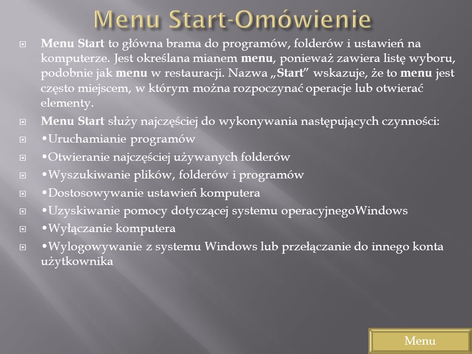 Menu Start-Omówienie