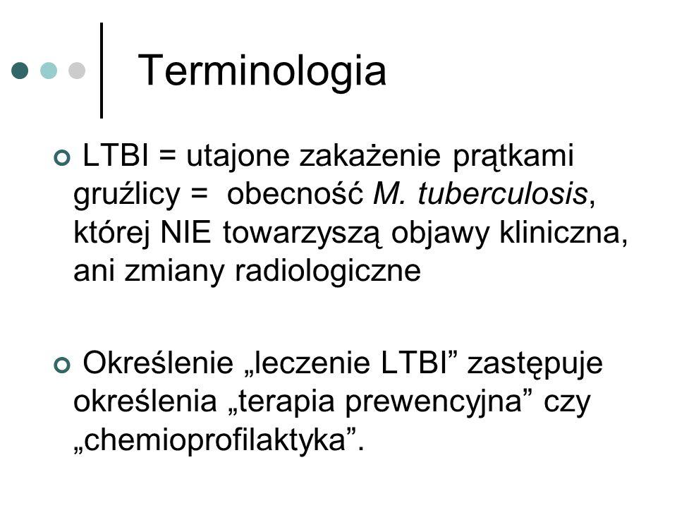 Terminologia LTBI = utajone zakażenie prątkami gruźlicy = obecność M. tuberculosis, której NIE towarzyszą objawy kliniczna, ani zmiany radiologiczne.