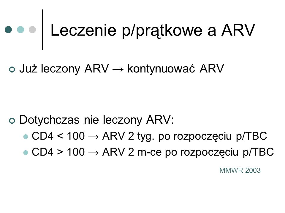 Leczenie p/prątkowe a ARV