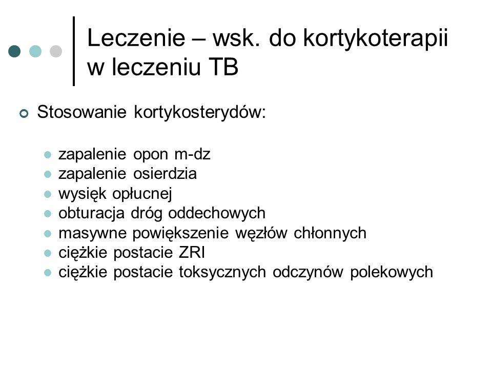 Leczenie – wsk. do kortykoterapii w leczeniu TB