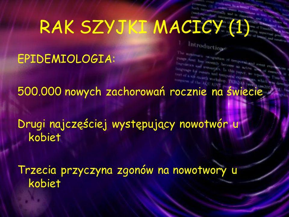 RAK SZYJKI MACICY (1) EPIDEMIOLOGIA: