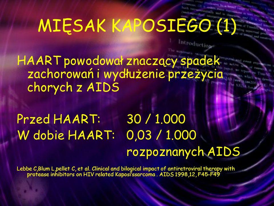 MIĘSAK KAPOSIEGO (1) HAART powodował znaczący spadek zachorowań i wydłużenie przeżycia chorych z AIDS.