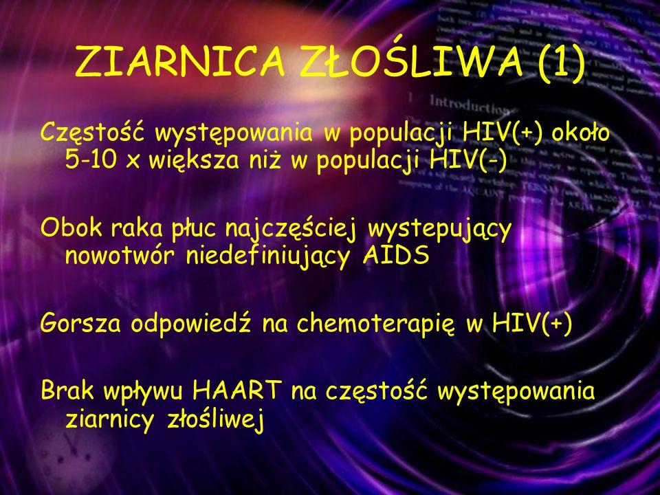 ZIARNICA ZŁOŚLIWA (1) Częstość występowania w populacji HIV(+) około 5-10 x większa niż w populacji HIV(-)