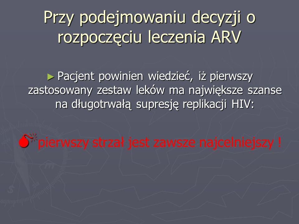 Przy podejmowaniu decyzji o rozpoczęciu leczenia ARV