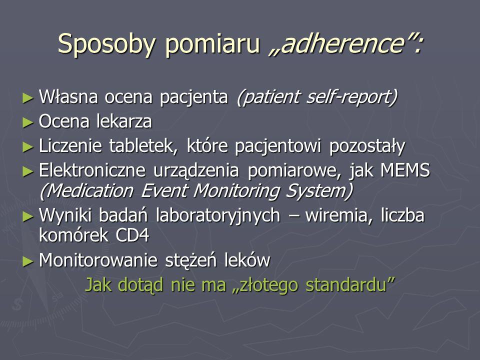 """Sposoby pomiaru """"adherence :"""