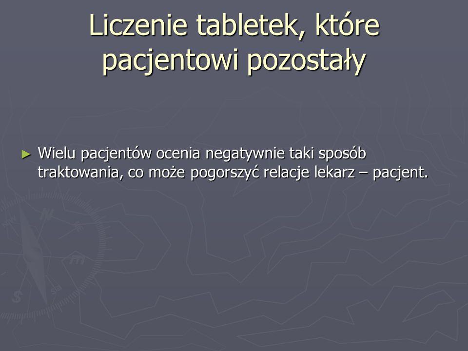 Liczenie tabletek, które pacjentowi pozostały
