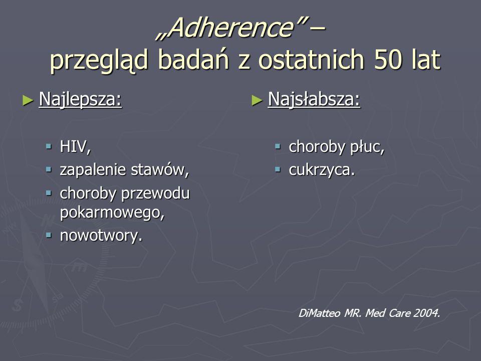 """""""Adherence – przegląd badań z ostatnich 50 lat"""