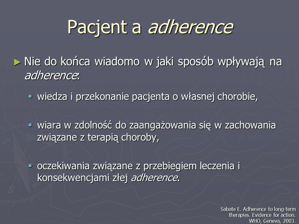 Pacjent a adherenceNie do końca wiadomo w jaki sposób wpływają na adherence: wiedza i przekonanie pacjenta o własnej chorobie,