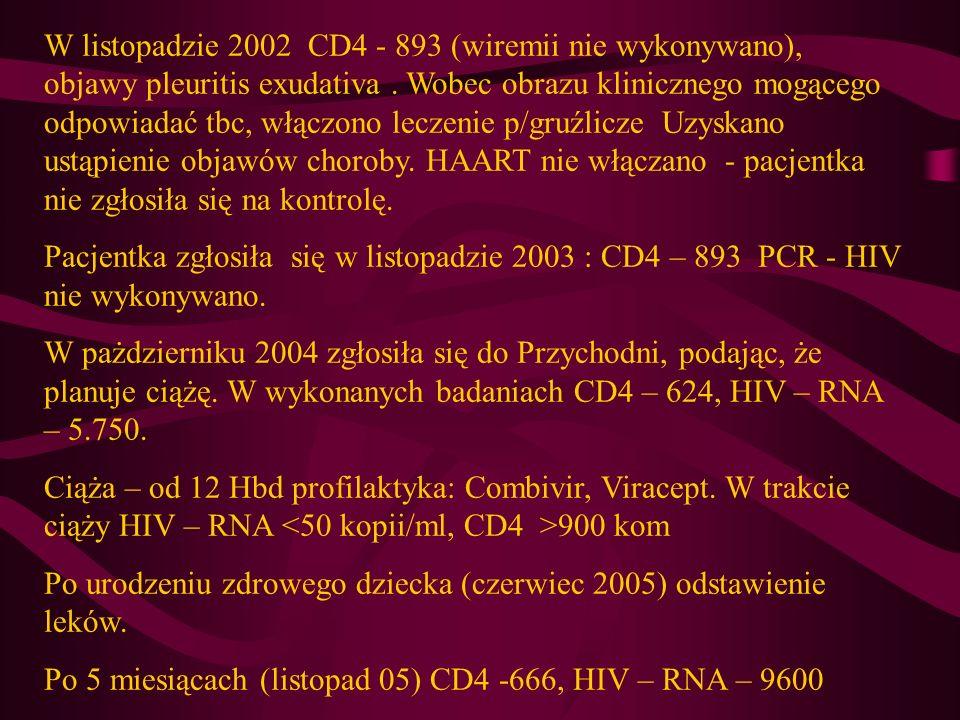 W listopadzie 2002 CD4 - 893 (wiremii nie wykonywano), objawy pleuritis exudativa . Wobec obrazu klinicznego mogącego odpowiadać tbc, włączono leczenie p/gruźlicze Uzyskano ustąpienie objawów choroby. HAART nie włączano - pacjentka nie zgłosiła się na kontrolę.