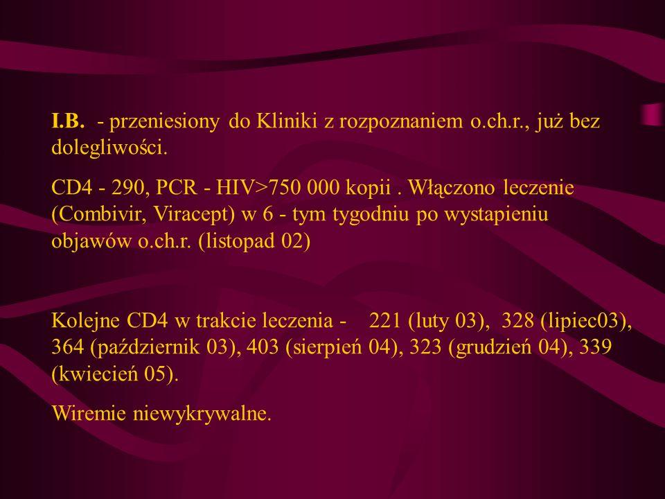 I. B. - przeniesiony do Kliniki z rozpoznaniem o. ch. r