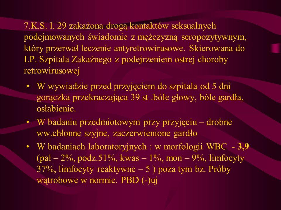 7.K.S. l. 29 zakażona drogą kontaktów seksualnych podejmowanych świadomie z mężczyzną seropozytywnym, który przerwał leczenie antyretrowirusowe. Skierowana do I.P. Szpitala Zakaźnego z podejrzeniem ostrej choroby retrowirusowej