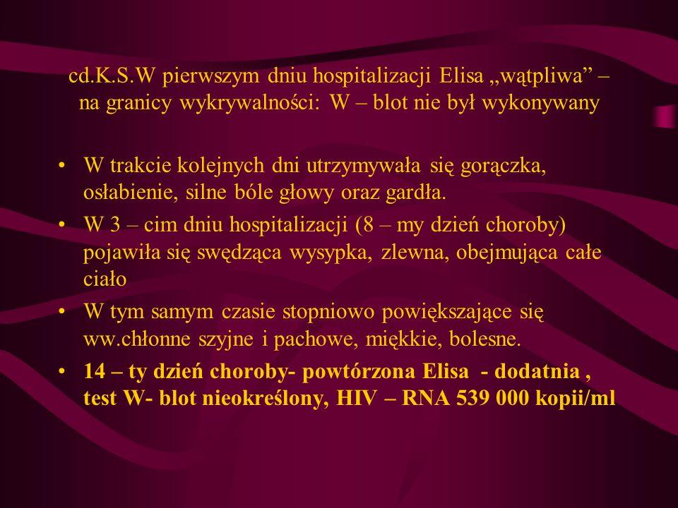 """cd.K.S.W pierwszym dniu hospitalizacji Elisa """"wątpliwa – na granicy wykrywalności: W – blot nie był wykonywany"""
