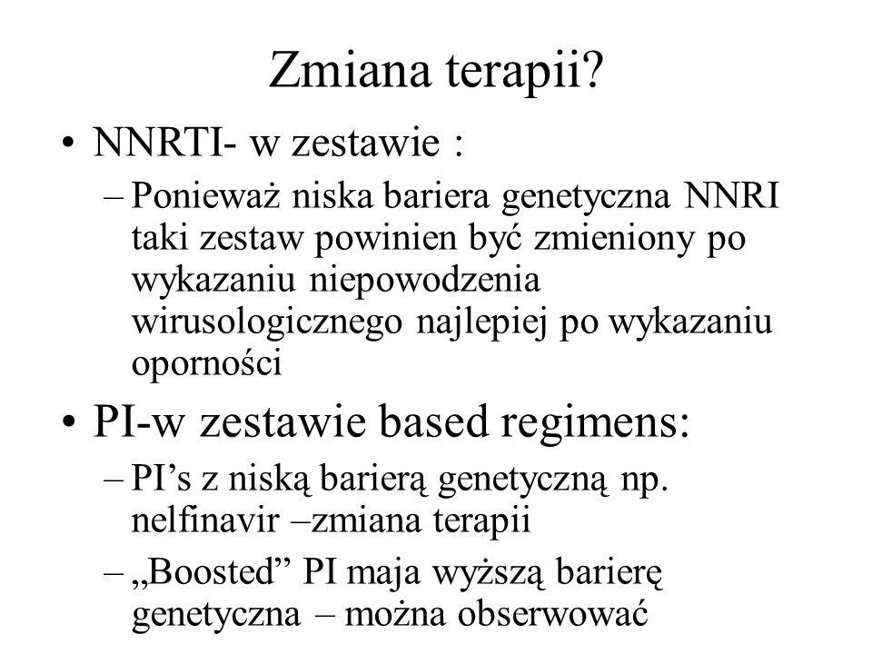 Zmiana terapii PI-w zestawie based regimens: NNRTI- w zestawie :
