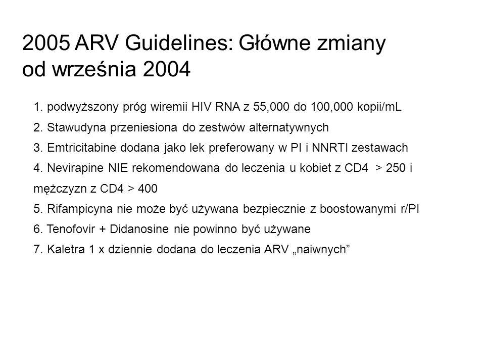 2005 ARV Guidelines: Główne zmiany od września 2004