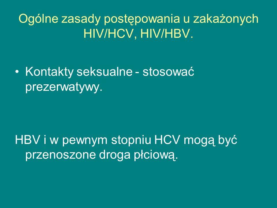Ogólne zasady postępowania u zakażonych HIV/HCV, HIV/HBV.