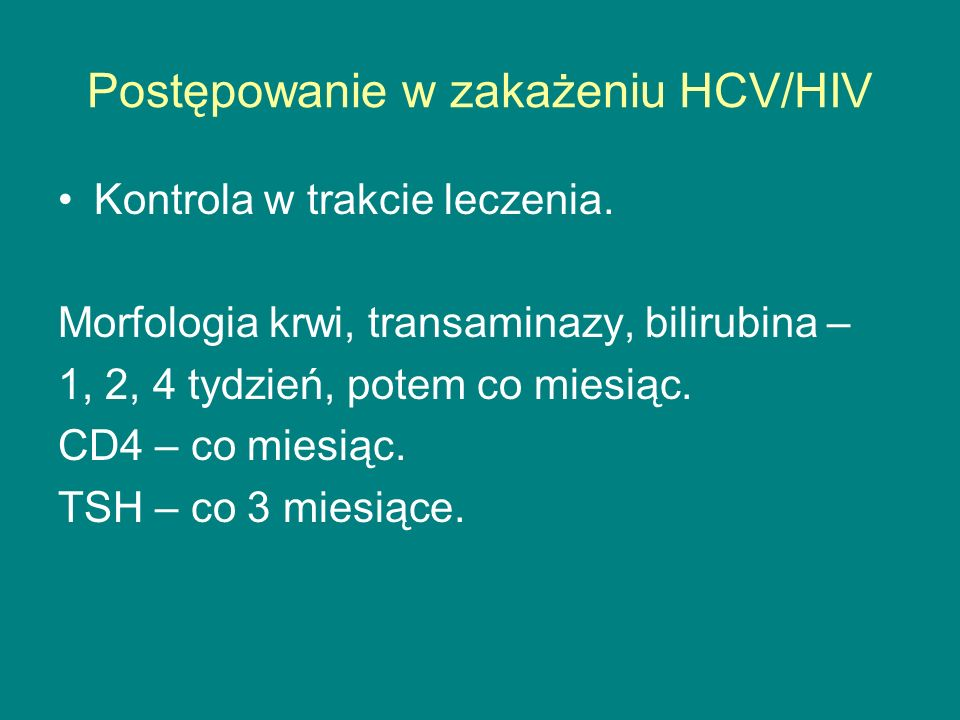 Postępowanie w zakażeniu HCV/HIV