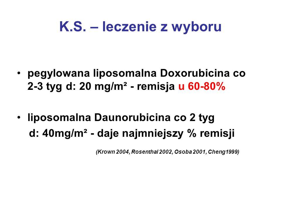 K.S. – leczenie z wyboru pegylowana liposomalna Doxorubicina co 2-3 tyg d: 20 mg/m² - remisja u 60-80%