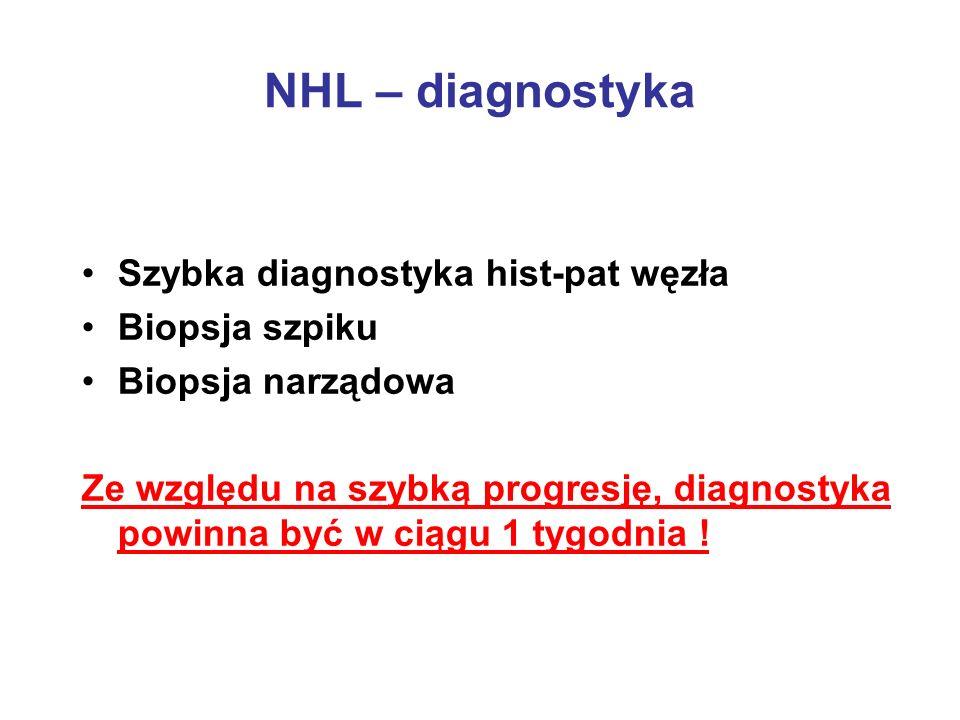 NHL – diagnostyka Szybka diagnostyka hist-pat węzła Biopsja szpiku
