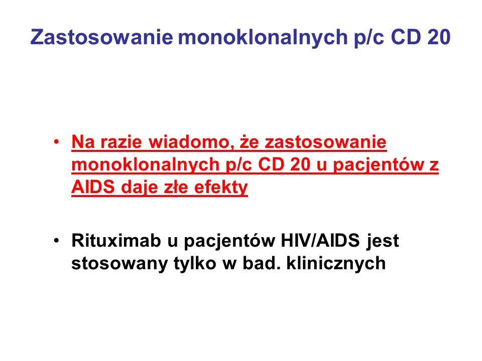 Zastosowanie monoklonalnych p/c CD 20