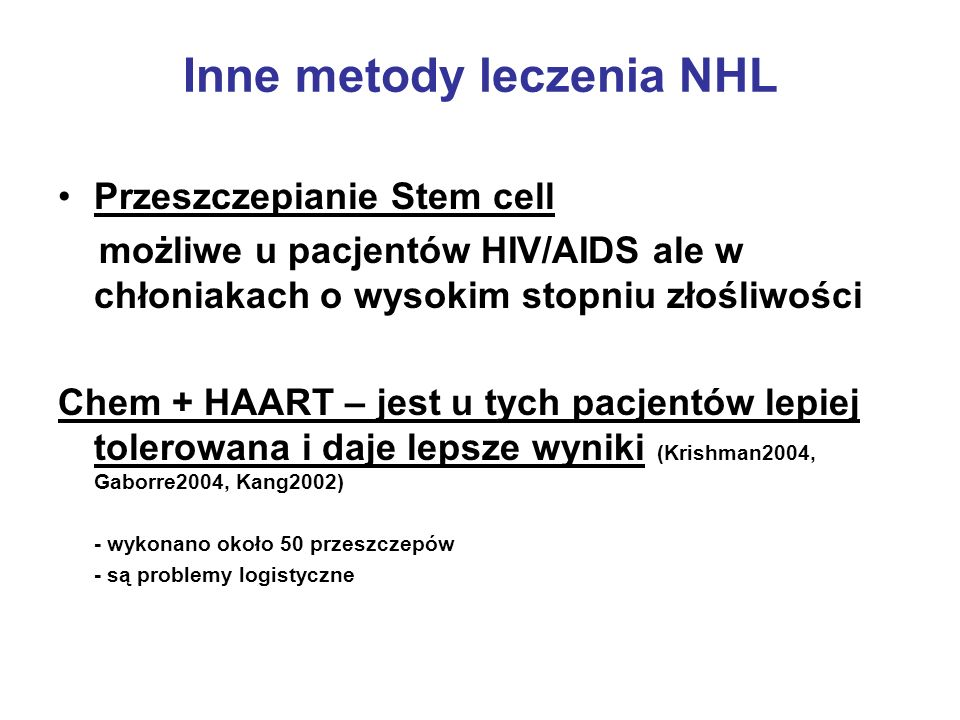 Inne metody leczenia NHL