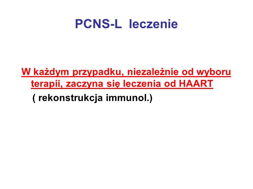 PCNS-L leczenie W każdym przypadku, niezależnie od wyboru terapii, zaczyna się leczenia od HAART.
