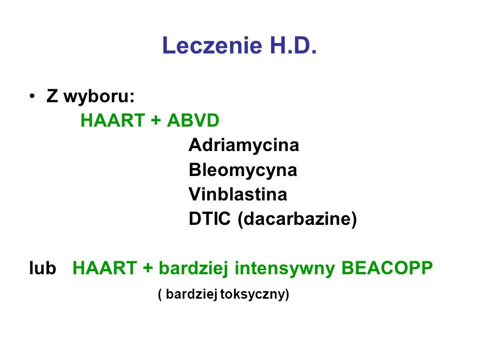 Leczenie H.D. Z wyboru: HAART + ABVD Adriamycina Bleomycyna