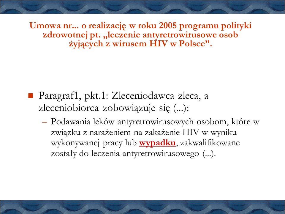 Umowa nr. o realizację w roku 2005 programu polityki zdrowotnej pt