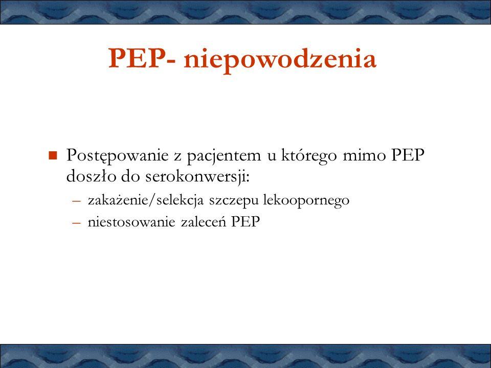PEP- niepowodzenia Postępowanie z pacjentem u którego mimo PEP doszło do serokonwersji: zakażenie/selekcja szczepu lekoopornego.