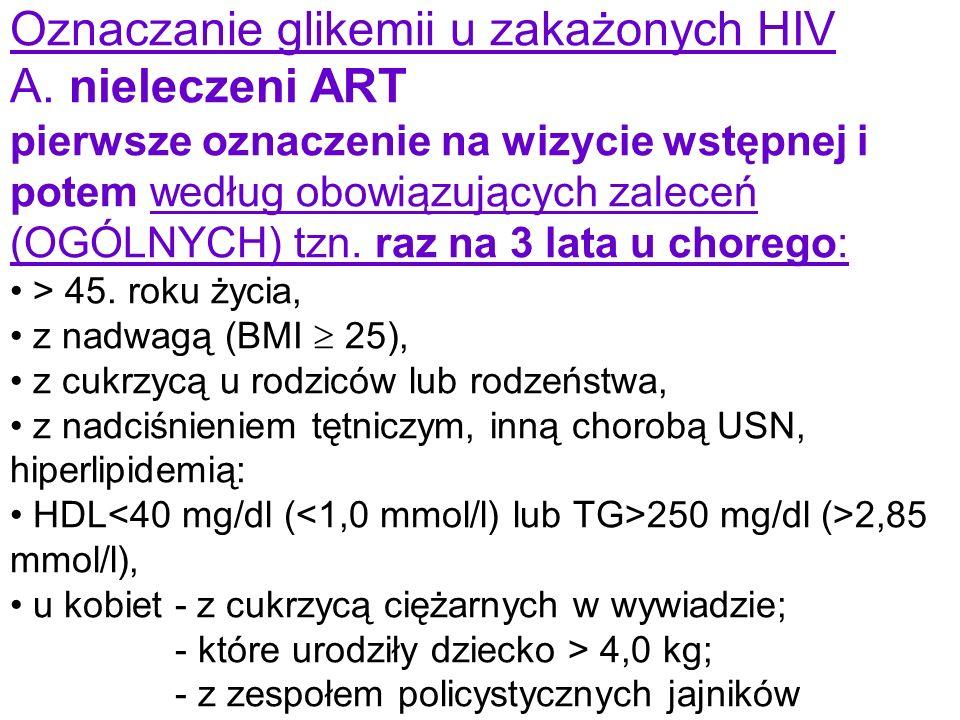 Oznaczanie glikemii u zakażonych HIV A. nieleczeni ART