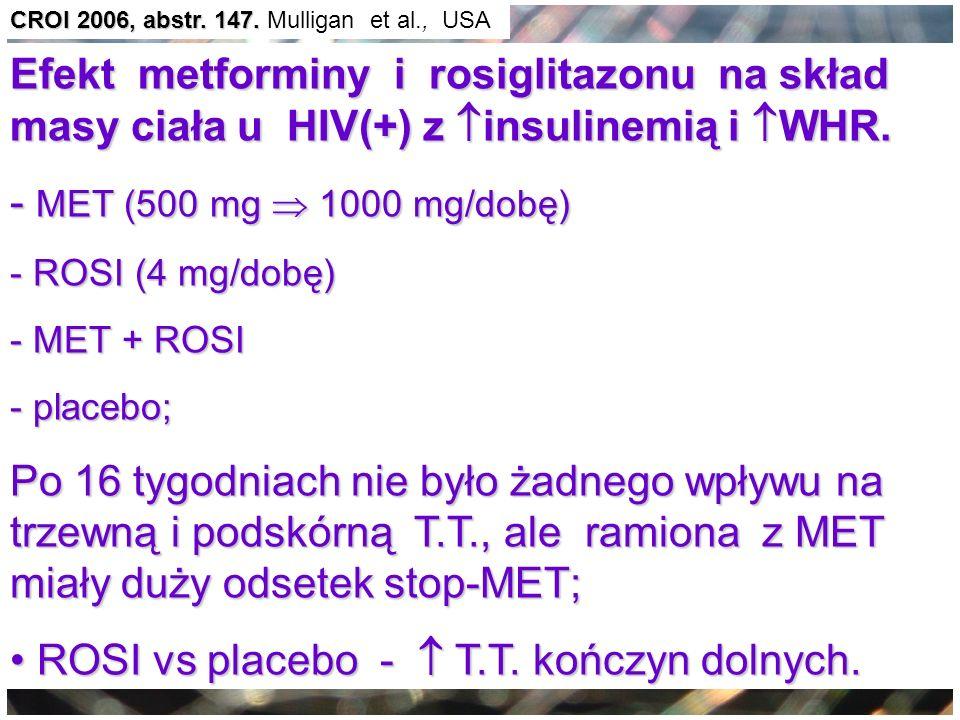 ROSI vs placebo -  T.T. kończyn dolnych.