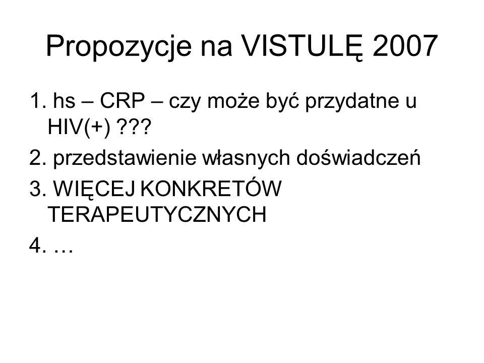 Propozycje na VISTULĘ 2007 1. hs – CRP – czy może być przydatne u HIV(+) 2. przedstawienie własnych doświadczeń.