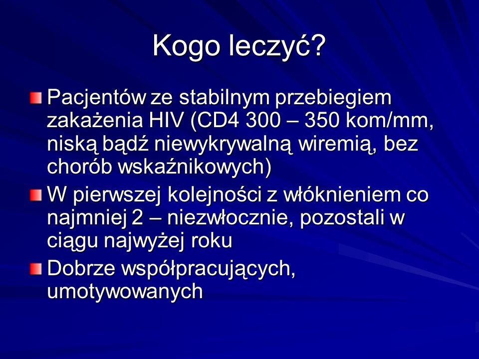Kogo leczyć Pacjentów ze stabilnym przebiegiem zakażenia HIV (CD4 300 – 350 kom/mm, niską bądź niewykrywalną wiremią, bez chorób wskaźnikowych)
