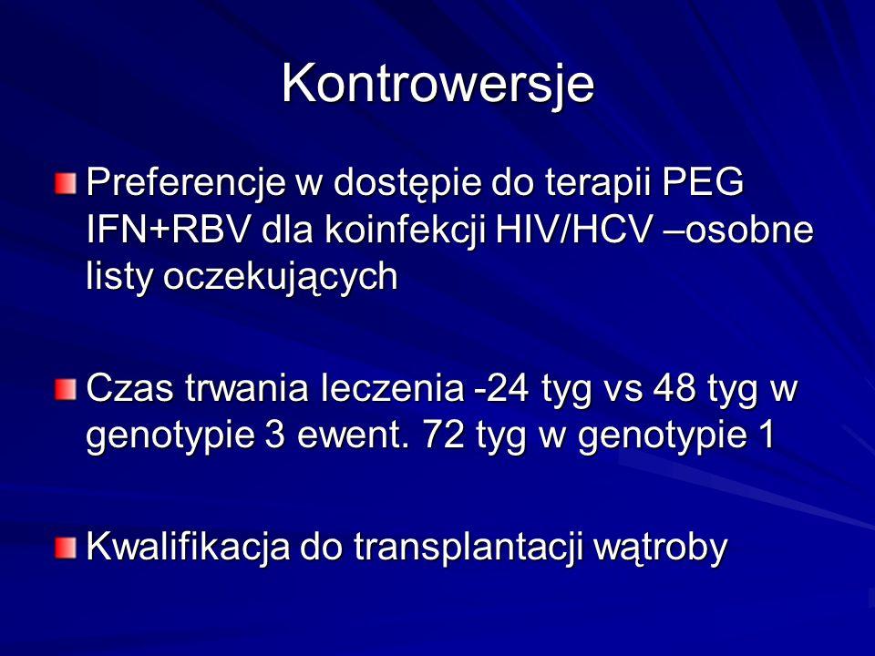 Kontrowersje Preferencje w dostępie do terapii PEG IFN+RBV dla koinfekcji HIV/HCV –osobne listy oczekujących.